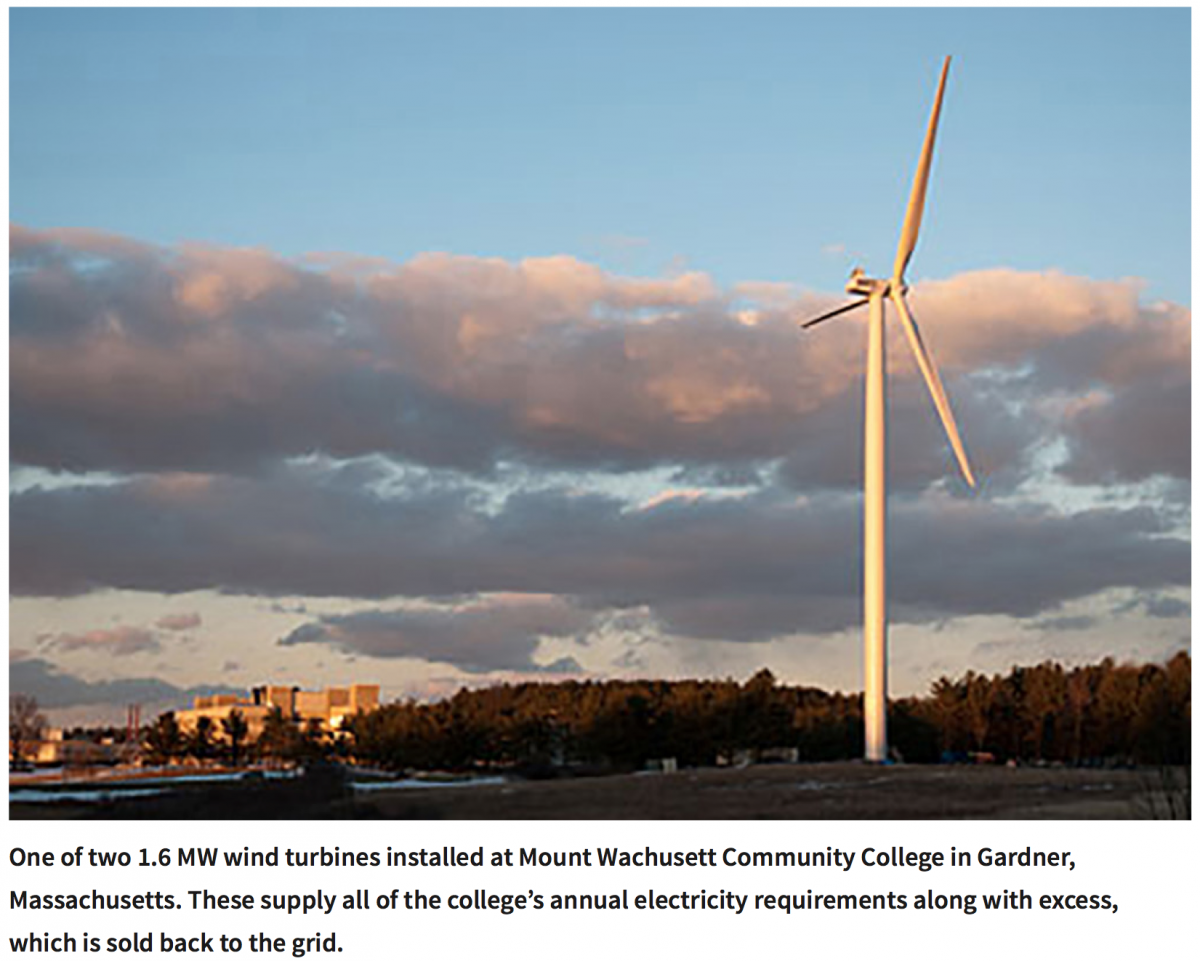 A 1.6 MW wind turbine installed at Mount Wachusett Community College. (Photo credit: Mount Wachusett Community College)
